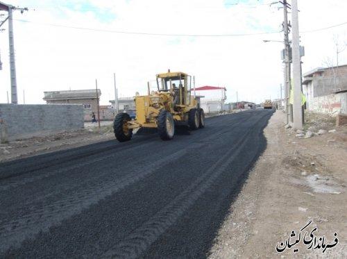 عملیات اجرائی آسفالت جاده سیمین شهر- آق قلا محدوده روستای آرخ بزرگ شهرستان گمیشان