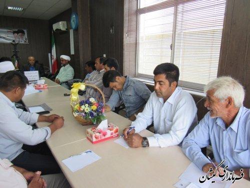 جلسه ماهانه دهیاران بخش گلدشت برگزار شد