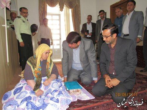 دیدار فرماندار گمیشان با خانواده شهید عبدالوهاب آهنی