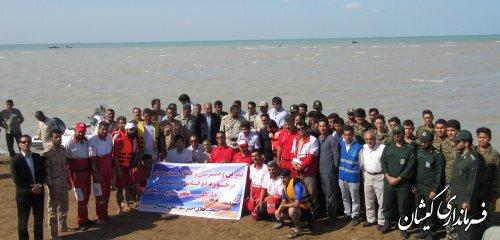 مانور تخصصی امداد و نجات در ساحل توماجلر چارقلی شهرستان گمیشان برگزار شد
