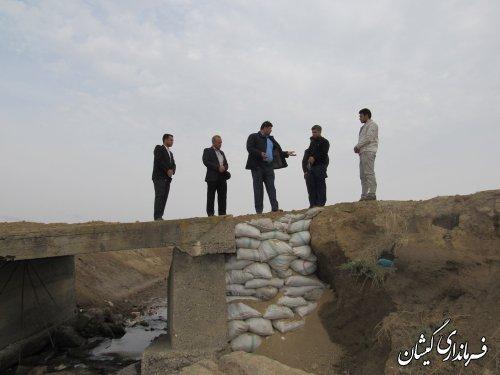 بازدید فرماندار گمیشان از پل کانال عبوری شمال روستای توماجلر آلتین