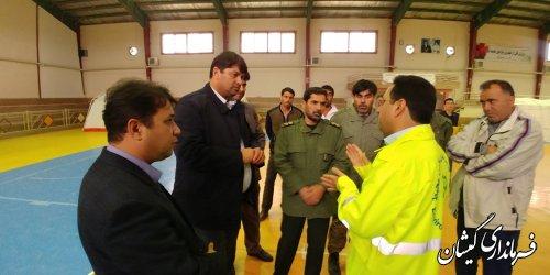 بازدید فرماندار گمیشان ازعملیات آماده سازی بیمارستان صحرایی شهرستان