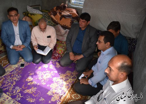 فرماندارگمیشان وضعیت معیشتی مراجعه کننده در روزملاقات عمومی را بررسی کرد