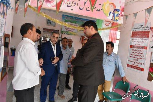 بازدید فرماندار گمیشان از مدرسه 13آبان روستای قلعه حاجی گلدیخان