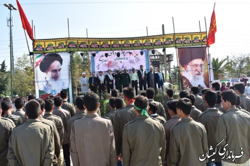 اولین رژه نیروهای مسلح و بسیجیان در شهرستان گمیشان برگزار شد
