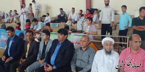 حضور فرماندار گمیشان در مسابقات قهرمانی کاراته استان به میزبانی شهرستان