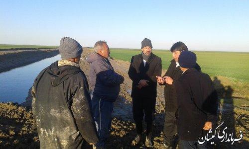 بازدید فرماندار گمیشان از زمین های کشاورزی محدوده شمال روستای چارقلی