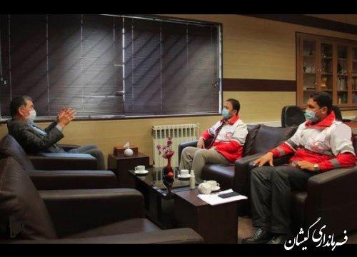 نشست مشترک مدیرعامل هلال احمر گلستان با فرماندار گمیشان