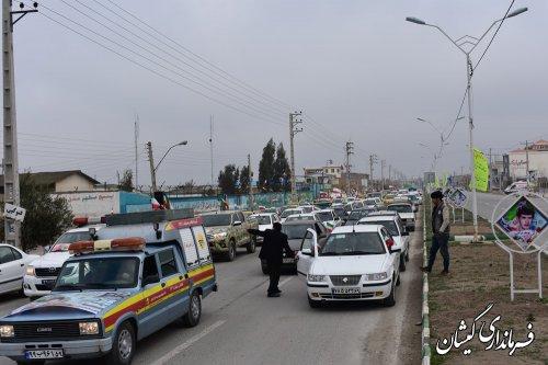 مراسم رژه خودرویی و موتوری یوم الله 22بهمن در گمیشان برگزار شد
