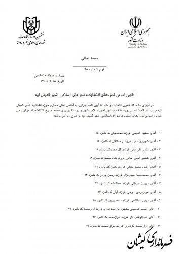 انتشار آگهی اسامی نامزدهای انتخابات شوراهای اسلامی شهر گمیش تپه و سیمین شهر